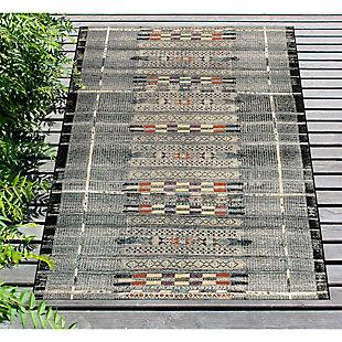 """Liora Manne Gorham Decorative Stripe Indoor/Outdoor Rug 6'6"""" x 9'4"""", Black, rollover"""