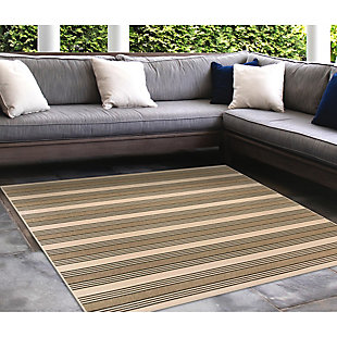 """Liora Manne Gilee Ribbons Indoor/Outdoor Rug 7'10"""" SQ, Tan, rollover"""