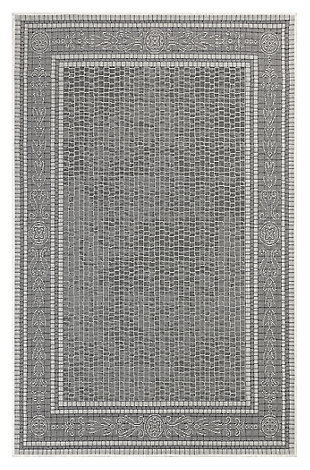 "Liora Manne Mateo Tile Border Indoor/Outdoor Rug 7'10"" x 9'10"", Gray, large"