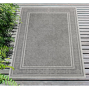 "Liora Manne Mateo Tile Border Indoor/Outdoor Rug 7'10"" x 9'10"", Gray, rollover"