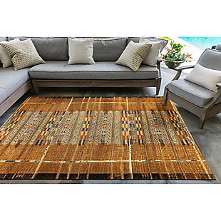 """Liora Manne Gorham Decorative Stripe Indoor/Outdoor Rug 7'10"""" x 9'10"""", Gold, rollover"""