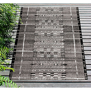 "Liora Manne Gorham Decorative Stripe Indoor/Outdoor Rug 7'10"" x 9'10"", Gray, rollover"