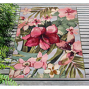 "Liora Manne Gorham Decorative Stripe Indoor/Outdoor Rug 7'10"" x 9'10"", Multi, rollover"