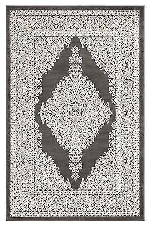 "Liora Manne Taloni Diamond Medallion Indoor/Outdoor Rug 7'10"" x 9'10"", Gray, large"