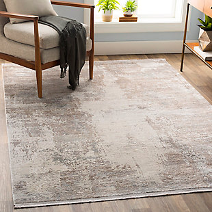 "Machine Woven Solar 5' x 7'6"" Area Rug, Taupe/Medium Gray/White, rollover"