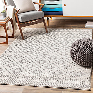 "Machine Woven Sunderland 5'3"" x 7'3"" Area Rug, Two-tone Gray/White, rollover"