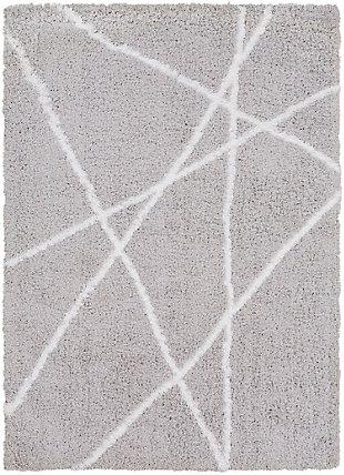 "Machine Woven Urban Shag 5'3"" x 7'3"" Area Rug, Light Gray/White, large"