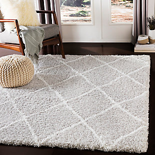 "Machine Woven Urban Shag 5'3"" x 7'3"" Area Rug, Light Gray/White, rollover"