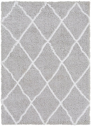 "Machine Woven Urban Shag 5'3"" x 7'3"" Area Rug, Light Gray/White, large"