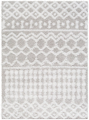 "Machine Woven Urban Shag 5'3"" x 7'3"" Area Rug, White/Light Gray, large"