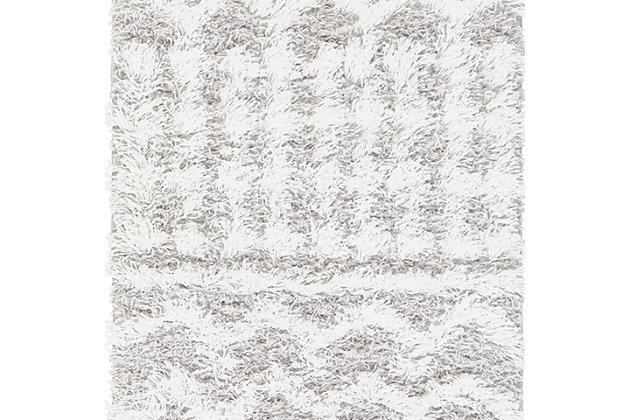 "Machine Woven Urban Shag 5'3"" x 7'3"" Area Rug, White/Light Gray, large"