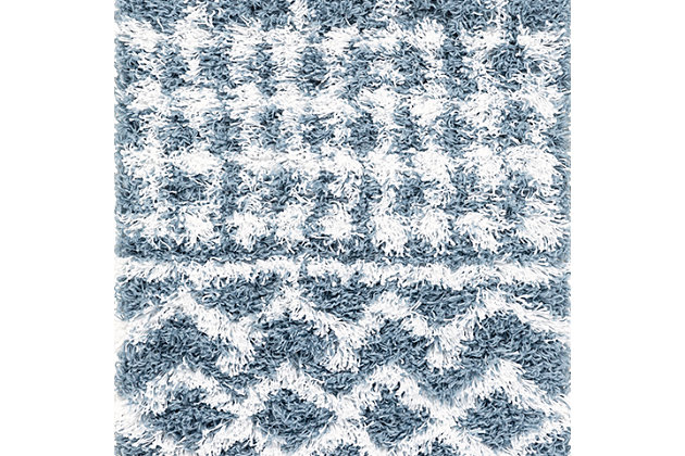 "Machine Woven Urban Shag 2' x 2'11"" Doormat, Denim/White, large"