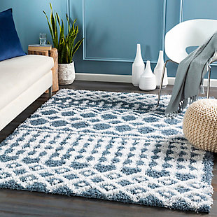 "Machine Woven Urban Shag 5'3"" x 7'3"" Area Rug, Denim/White, rollover"