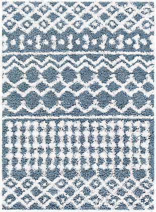 "Machine Woven Urban Shag 5'3"" x 7'3"" Area Rug, Denim/White, large"