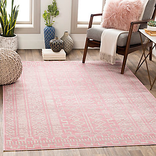 "Machine Woven Ustad 5'3"" x 7'3"" Area Rug, Pale Pink/Gray/Cream, rollover"