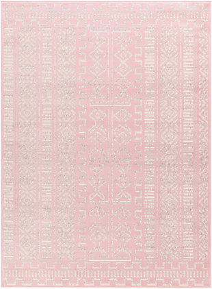 "Machine Woven Ustad 5'3"" x 7'3"" Area Rug, Pale Pink/Gray/Cream, large"
