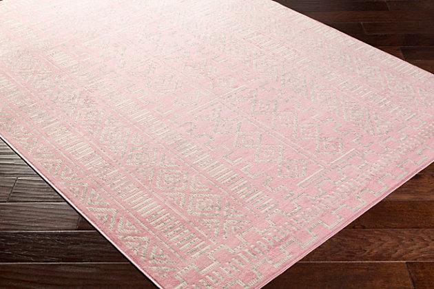 "Machine Woven Ustad 5'3"" x 7'3"" Area Rug, Pink/Gray/Cream, large"