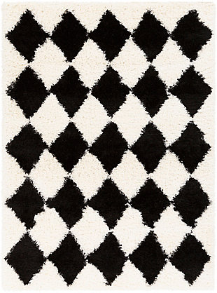 "Machine Woven Winfield 5'3"" x 7'3"" Area Rug, Black/Ivory/White, large"