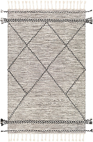 "Hand Woven Zanafi 5' x 7'6"" Area Rug, Black/Cream, large"