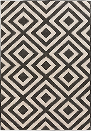 "Surya Alfresco 5'3"" x 7'7"" Area Rug, Black/Cream, rollover"
