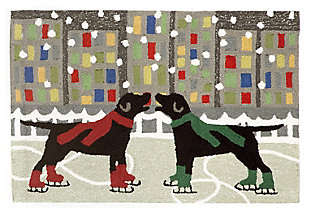 Home Accents 2' x 3' Skating Friends Indoor/Outdoor Rug, , large