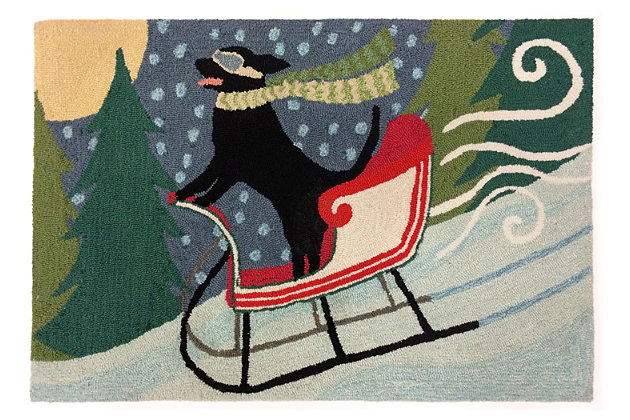 Home Accents 2' x 3' Sleigh Ride Indoor/Outdoor Rug, , large