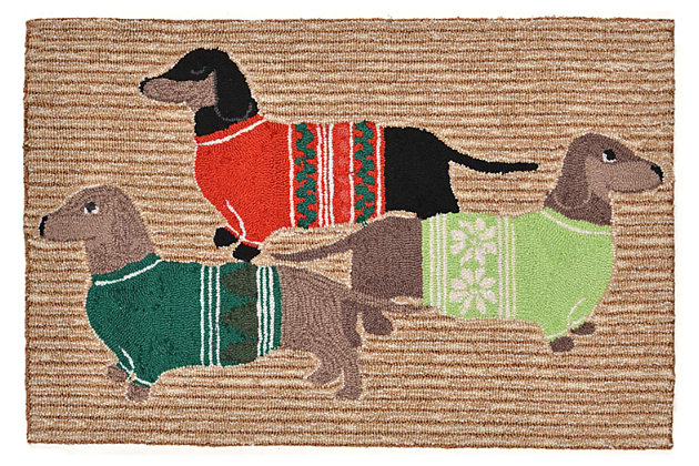 Home Accents 2' x 3' Christmas Card Indoor/Outdoor Rug, , large