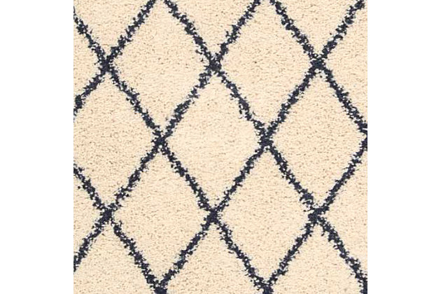 Power Loomed Brisbane Ivory and Charcoal 5' x 7' Area Rug, Ivory, large