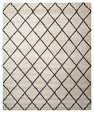 Power Loomed Brisbane Ivory and Charcoal 8' x 10' Area Rug, Ivory, large