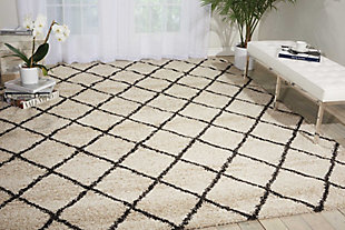 Power Loomed Brisbane Ivory and Charcoal 8' x 10' Area Rug, Ivory, rollover