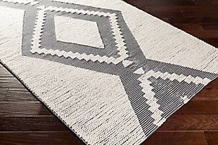 "Surya Indoor/Outdoor 5' x 7'6"" Area Rug, Charcoal/Ivory, rollover"
