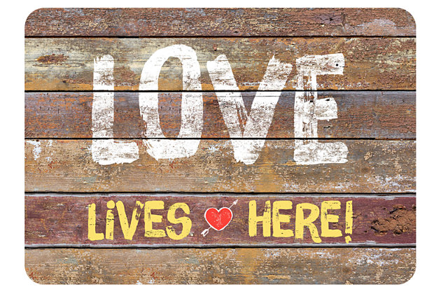 "Home Accents Premium Comfort 1'10"" x 2'7"" Love Lives Here Mat, , large"