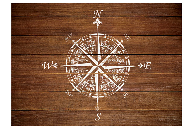 "Home Accents Premium Comfort 1'10"" x 2'7"" Compass on Wood Mat, , large"