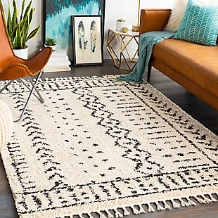 "Surya 5'3"" x 7'3"" Area Rug, Charcoal/Beige, rollover"