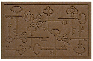 """Home Accents Aqua Shield 1'11"""" x 3' Keys to the City Doormat, Brown, large"""