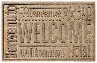 "Home Accents Aqua Shield 1'11"" x 3' Worldwide Welcome Indoor/Outdoor Doormat, Beige, large"