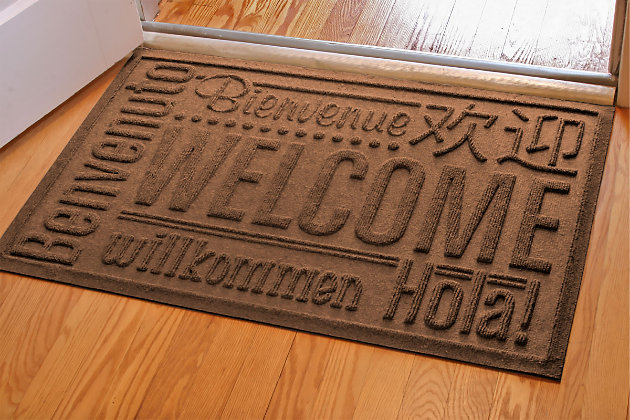 "Home Accents Aqua Shield 1'11"" x 3' Worldwide Welcome Indoor/Outdoor Doormat, Brown, large"