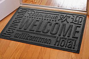 """Home Accents Aqua Shield 1'11"""" x 3' Worldwide Welcome Indoor/Outdoor Doormat, Gray, large"""