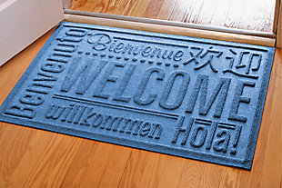 "Home Accents Aqua Shield 1'11"" x 3' Worldwide Welcome Indoor/Outdoor Doormat, Blue, large"