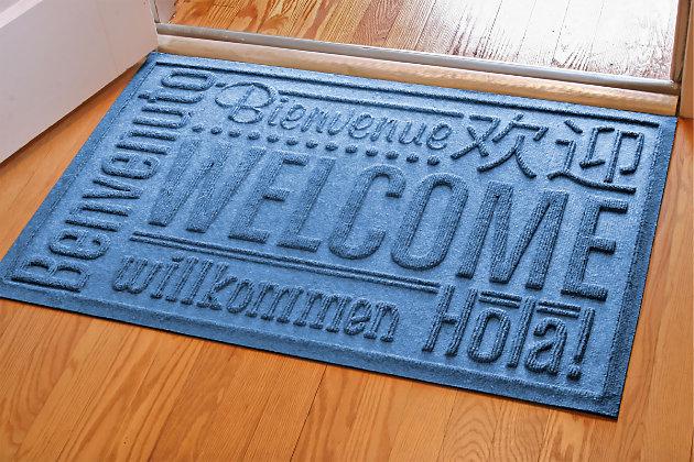 """Home Accents Aqua Shield 1'11"""" x 3' Worldwide Welcome Indoor/Outdoor Door, Blue, large"""
