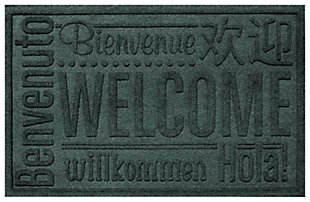 "Home Accents Aqua Shield 1'11"" x 3' Worldwide Welcome Indoor/Outdoor Doormat, Green, large"