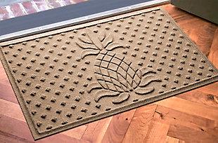 """Home Accents Aqua Shield 1'11"""" x 3' Diamond Pineapple Indoor/Outdoor Doormat, Beige, large"""