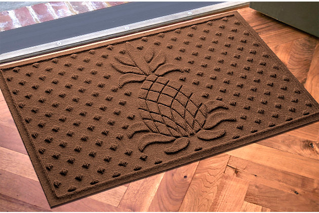 "Home Accents Aqua Shield 1'11"" x 3' Diamond Pineapple Indoor/Outdoor Doormat, Brown, large"