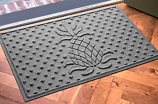 "Home Accents Aqua Shield 1'11"" x 3' Diamond Pineapple Indoor/Outdoor Doormat, Gray, rollover"