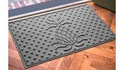 """Home Accents Aqua Shield 1'11"""" x 3' Diamond Pineapple Indoor/Outdoor Doormat, Gray, rollover"""