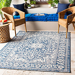 "Global Indoor/Outdoor 5'3"" x 7'7"" Area Rug, Denim/Navy/White, rollover"