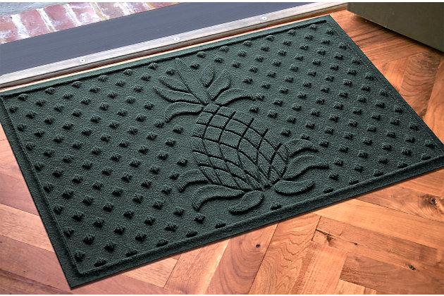 """Home Accents Aqua Shield 1'11"""" x 3' Diamond Pineapple Indoor/Outdoor Doormat, Green, large"""