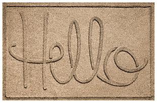 """Home Accents Aqua Shield 1'11"""" x 3' Hello Indoor/Outdoor Doormat, Beige, large"""