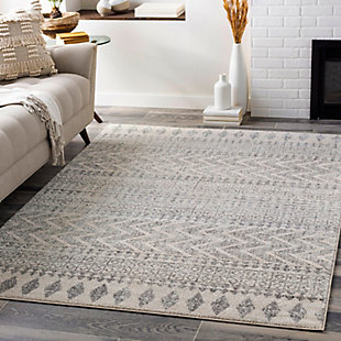 """Global 5'3"""" x 7'6"""" Area Rug, Two-tone Gray/Ivory, rollover"""