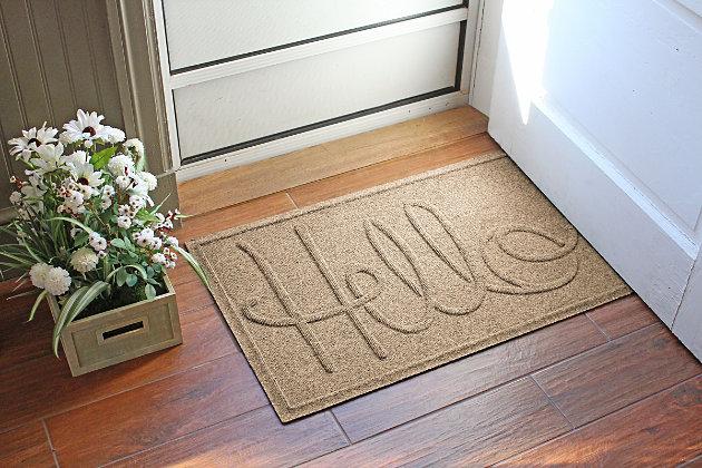 Home Accents Aqua Shield 2' x 3' Hello Doormat by Ashley HomeStore, Tan